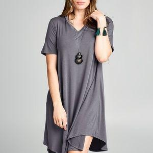 Charcoal V- Neck Tunic Dress